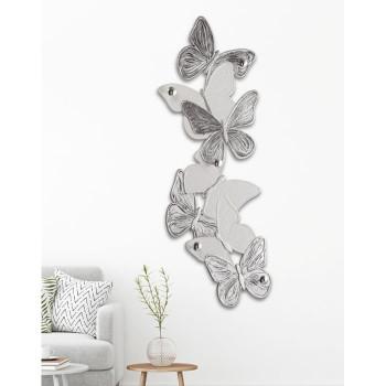 Pintdecor Appendiabiti da parete moderno in legno con farfalle Volteggio Delicato 62x156  Avorio/Argento