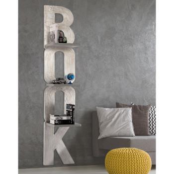 Pintdecor Libreria da parete moderna in legno Matter Book 40x190  Argento    P4846