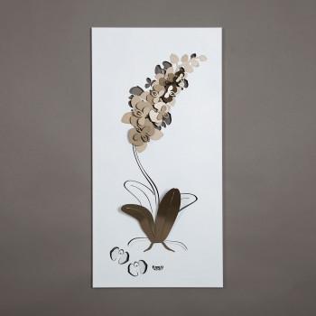 Arti e Mestieri Pannello da parete 100x50 moderno in metallo Orchidea      3136