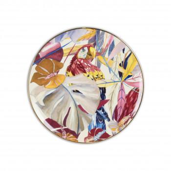 Baci Milano Piatto torta in porcellana con filo in oro dalle linee contemporanee Savana Multicolore    PCAKE.SAV01