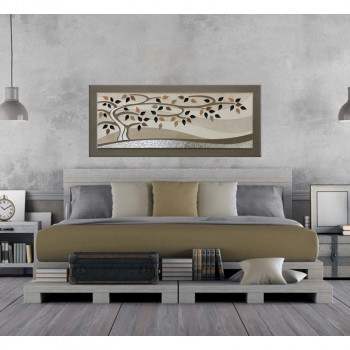 "Artitalia Quadro contemporaneo con decori in resina in rilievo e foglia argento ""Wind Tree II"" 155x65      PD1054"