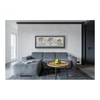 """Artitalia Quadro contemporaneo in rilievo 3d decori in resina e foglia argento """"Spring Sunflowers"""" 155x65      PD1062"""