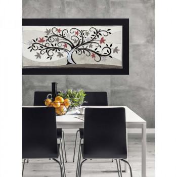 """Artitalia Quadro materico contemporaneo con dettagli foglia argento in rilievo """"Tree of Eternity II"""" 120x60      PD6108"""