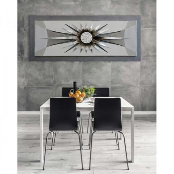 """Artitalia Quadro contemporaneo tema a rilievo decorato in resina e foglia argento """"Silver Sun"""" 155x65      PD1045"""