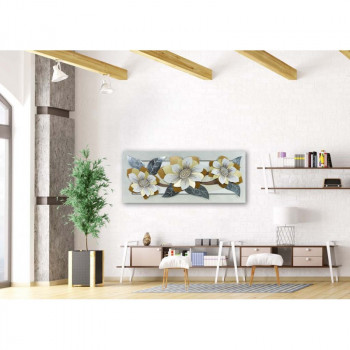 "Artitalia Quadro contemporaneo tema in rilievo decori in resina e foglia argento ""Silver Flower"" 155x65      PD1035"