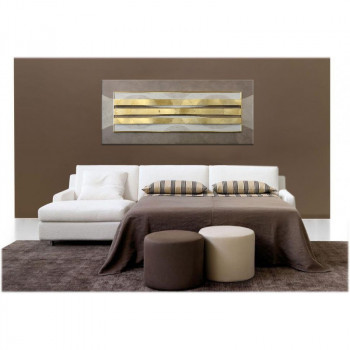 "Artitalia Quadro contemporaneo in rilievo 3d con decori in resina e foglia argento ""Harmonic Ensemble III"" 155x65      PD1049"