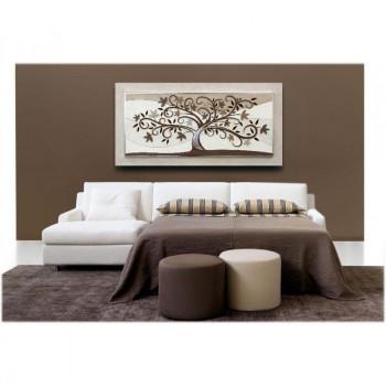 """Artitalia Quadro materico moderno con tema in rilievo e dettagli foglia argento """"Tree of Eternity"""" 120x60      PD6109"""