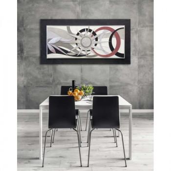 """Artitalia Quadro contemporaneo materico tema in rilievo 3d decoro in foglia argento """"Universe Beginning II"""" 120x60      PD6110"""
