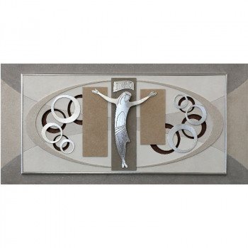 "Artitalia Quadro contemporaneo materico tema in rilievo decori in foglia argento ""Christ I"" 120x60      PD6114"