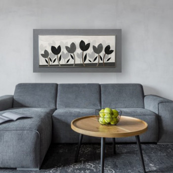 """Artitalia Quadro materico moderno in rilievo 3d dettagli in foglia argento """"Tulipani Perlati"""" 120x60      PD6117"""