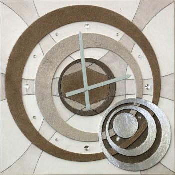 """Artitalia Orologio da parete moderno in legno decoro materico e foglia argento """"Planet""""      PDOR50"""