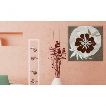 """Artitalia Orologio da parete moderno materico in rilievo dettagli foglia argento """"Flower""""      PDOR5"""