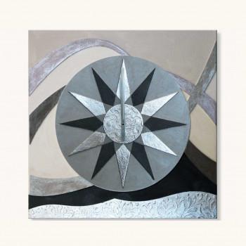 Artitalia Orologio da parete tema e decori materici con dettagli in foglia argento  Blu    PDOR702