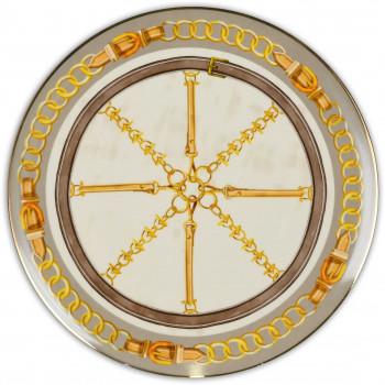 Baci Milano Set 6pz Piatti piani in porcellana con filo oro Horses Oro    PIAT1.HOR01