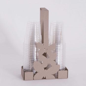 Arti e Mestieri Portabicchieri in metallo per bicchieri di plastica Farfalle