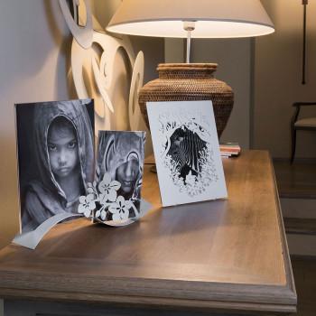 Arti e Mestieri Porta foto elegante da tavolo in metallo Fior Di Loto