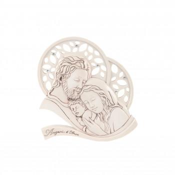Bongelli Preziosi Bomboniera Battesimo - Icona con Sacra Famiglia Invecchiato Nocciola