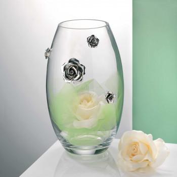Bongelli Preziosi Vaso classico in vetro trasparente con applicazioni di rose in argento