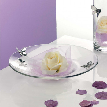 Bongelli Preziosi Centro tavola in vetro trasparente con farfalle in argento in stile moderno      ME123
