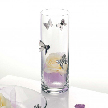 Bongelli Preziosi Vaso in vetro trasparente con farfalle in argento in stile moderno