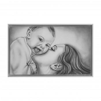 """Art Maiora Capezzale moderno dipinto a mano su tela con la maternità """"Gaia"""" 110x65      SCRFMG1"""