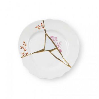 Seletti Piatto frutta in porcellana con decori dorati Kintsugi     09601