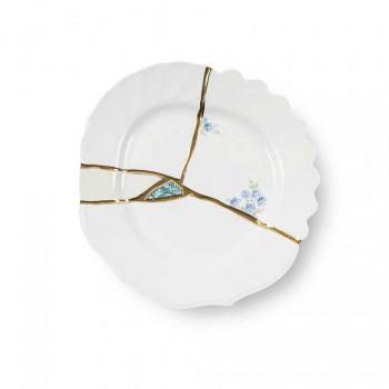 Seletti Piatto dessert in porcellana con decori dorati Kintsugi Oro    09603