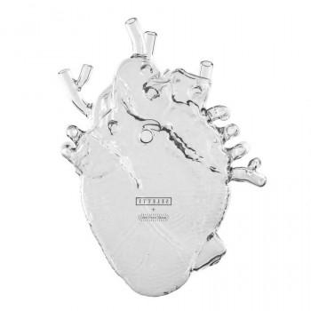 """Seletti Vaso in porcellana dallo stile contemporaneoo a forma di cuore """"Love in Bloood""""  Trasparente    09922"""