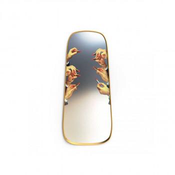 Seletti Specchio da parete con cornice in legno  Oro    17051