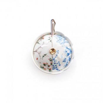 Seletti Zuccheriera con cucchiaino in porcellana dalle linee classiche  Bianco/Blu    09748