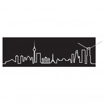 Progetti Orologio da parete con pannello in legno Berlino Skyline