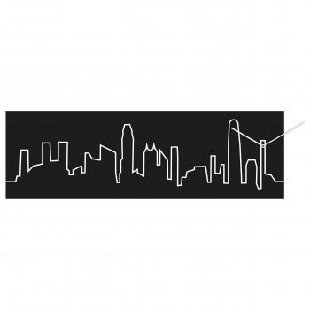 Progetti Orologio da parete con pannello in legno Honk Hong Skyline
