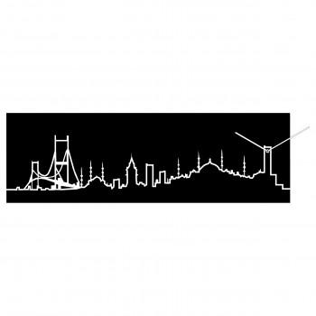 Progetti Orologio da parete con pannello in legno Istanbul Skyline