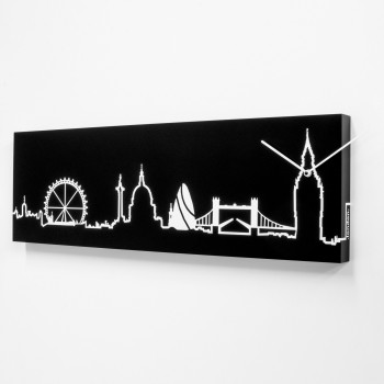 Progetti Orologio da parete con pannello in legno Londra Skyline