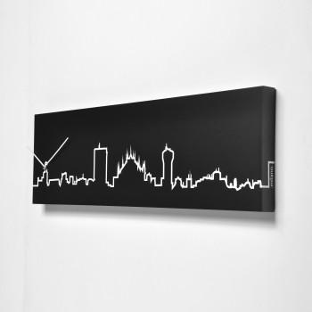 Progetti Orologio da parete con pannello in legno Milano Skyline