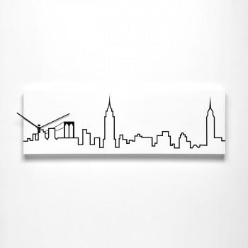 Progetti Orologio da parete con pannello in legno New York Skyline