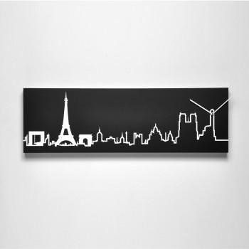 Progetti Orologio da parete con pannello in legno Parigi Skyline
