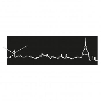 Progetti Orologio da parete con pannello in legno Torino Skyline