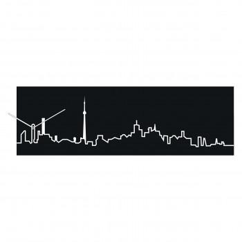 Progetti Orologio da parete con pannello in legno Toronto Skyline