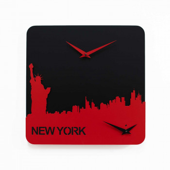 Progetti Orologio da parete con doppio quadrante New York Time Travel Nero/Rosso
