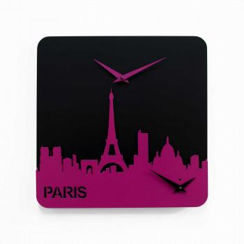 Progetti Orologio da parete con doppio quadrante Parigi Time Travel Nero/Violaceo