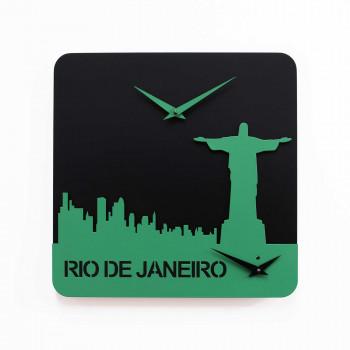 Progetti Orologio da parete con doppio quadrante Rio de Janeiro Time Travel Nero/Verde Chiaro