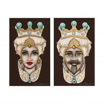 """Art Maiora Quadro dipinto a mano su tela """"Teste di moro crown"""" 110x65 set 2pz  Verde Acqua    TMCR2"""