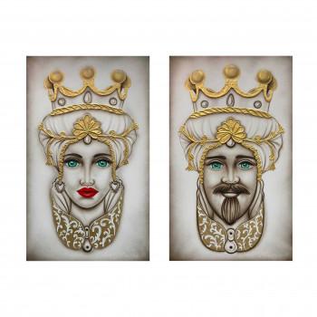 "Art Maiora Quadro dipinto a mano su tela ""Teste di moro crown"" 110x65 set 2pz  Bianco/Oro    TMCR4"