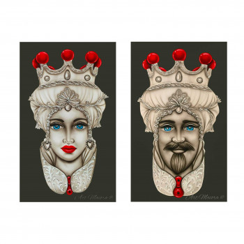 "Art Maiora Quadro dipinto a mano su tela ""Teste di moro crown"" 110x65 set 2pz  Tortora    TMCR5"