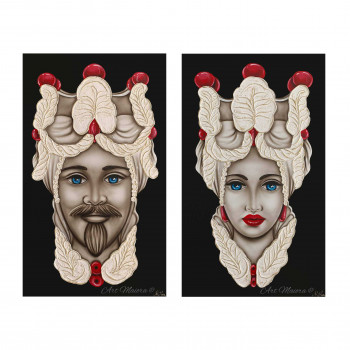"""Art Maiora Quadro dipinto a mano su tela """"Teste di moro"""" 110x65 set 2pz      TMTR1"""