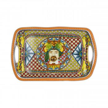 Baci Milano Vassoio con manici in porcellana dalle linee contemporanee Trinacria Arancione    TRAY.TRI01