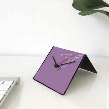 """Design Object Orologio da scrivania per casa o ufficio in metallo con dedica """"UCCELLO"""" Totem Collection     IT226"""