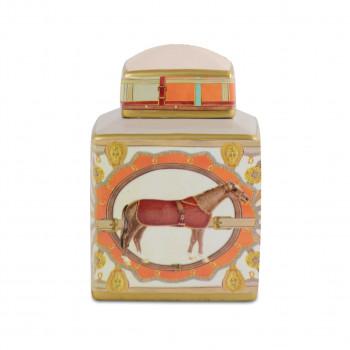 Baci Milano Vaso in porcellana piccolo dal design contemporaneo Horses Arancione    VAS1.HOR01