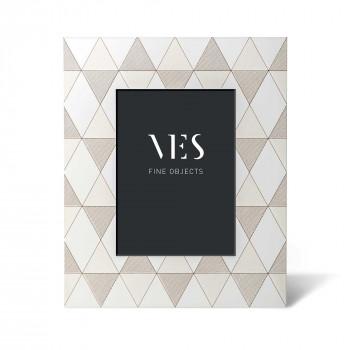 """Ves Design Portafoto da tavolo con cornice in legno di design moderno """"Vichy White"""" Istanti    13x18"""